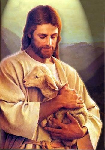 Jesus bär ett lamm